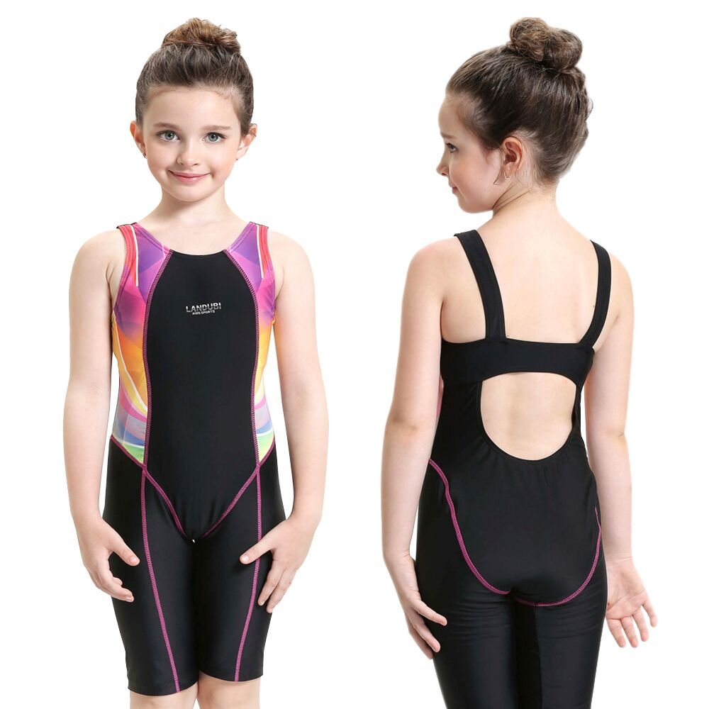 Etzion One-piece Swimwear Athletic Girls Swimsuits for Travel Water Sports, Wet Suit for Age 5-6