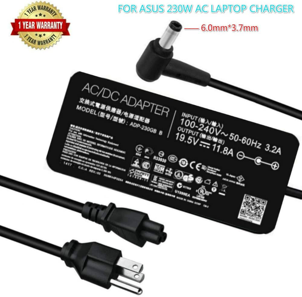 New Slim 19.5 V 11.8A 230W Laptop Charger for Asus ADP-230GB B ROG FX95G FX95D FX95DU FX86F VX60G GL504GS GX501 GX501V GX501VI GX501VI-XS75 GX501VI-XS74 GX501VI-GZ027T Ac Power Adapter