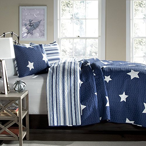 Lush Decor Star Quilt - Reversible 3 Piece Pattern Striped Bedding Set with Pillow Shams - Full Queen - Navy