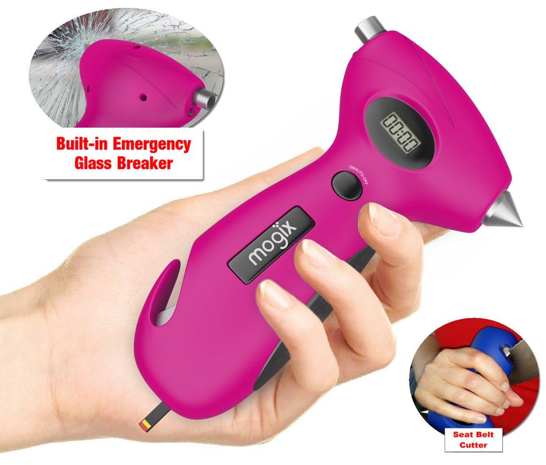 Mogix Tire Pressure Gauge with Window Breaker, Seatbelt Cutter, Tire Tread & Flashlight (Pink)