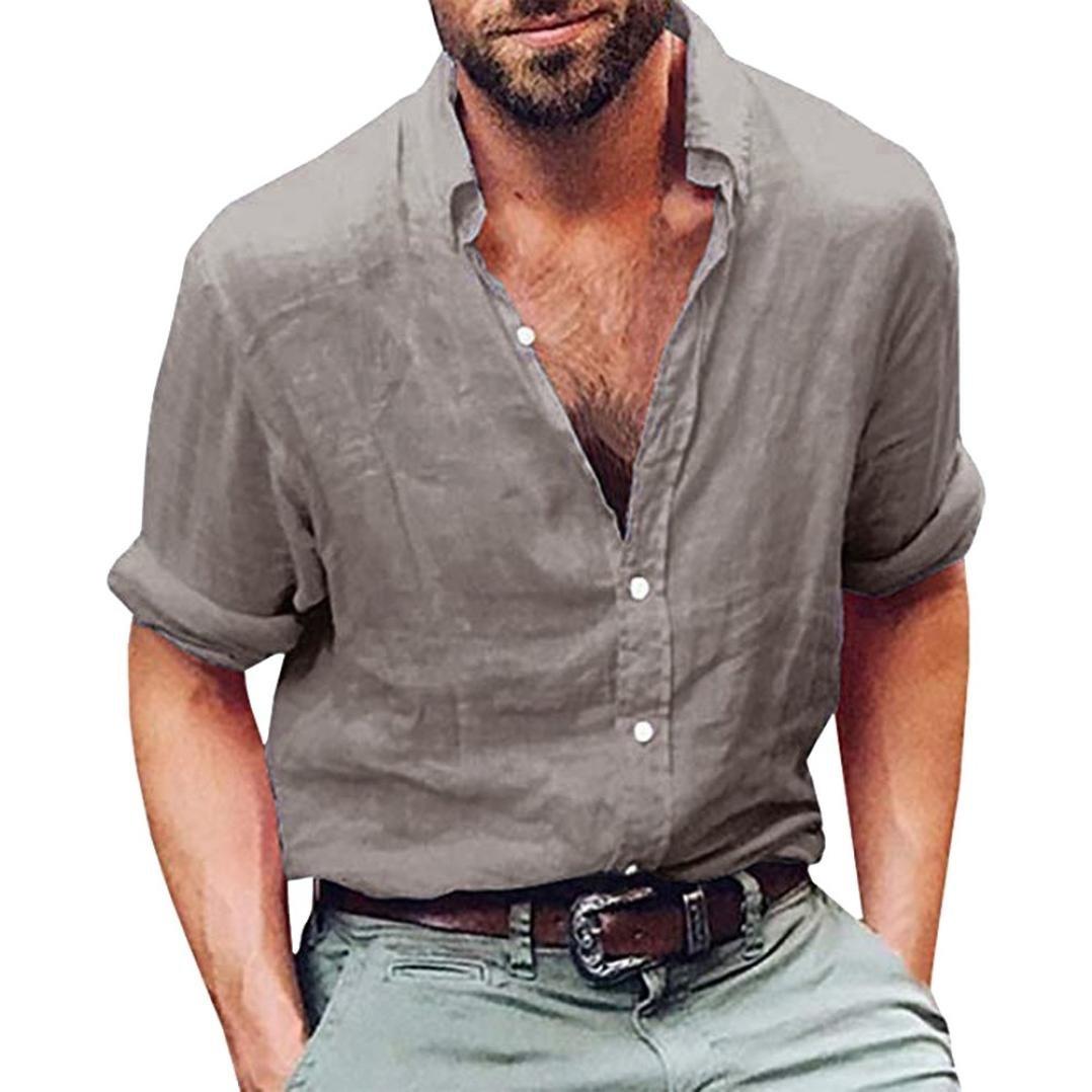 Mens Tops Clearance vermers Mens Long Sleeve Henley Shirt Cotton Linen Beach Yoga Loose Fit Blouse(L, Gray)