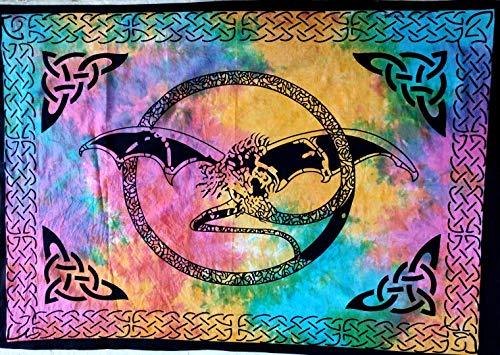Indian Craft Castle ICC Dragon Poster Hippie Decor Tapestry Wall Hanging Dorm Collage Color Me Weed Leaf Bohemian Art Psychedelic Small Hippie Rasta Ganja 30x40 inches (Multi 1) ()