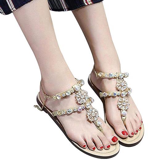 Amazon.com  Women Girls Fashion Sweet Bohemia Beaded Crystal T-Strap Chain Flat  Sandals Comfort Summer Herringbone Beachshoes  Clothing 42a59a688d1e