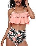 Tempt Me Women Two Piece Ruffle Halter Swimsuit Backless High Waisted Bikini Set