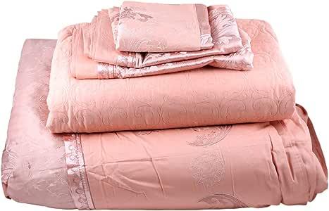 Sophia King Size, Cotton,Damask Pattern, Orange - Bedding Sets