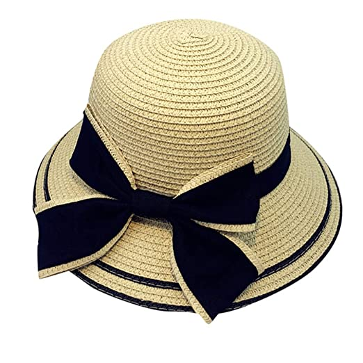 3d54ba7e4 iNoDoZ Summer Sun Hat Cap for Women Baby Kids Girl Beach Bow Straw Flat  Brim Parent