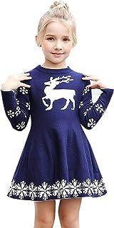 Tronet Baby Girls Christmas Dress Deer Snowflake Xmas Winter Knit Sweater Dresses