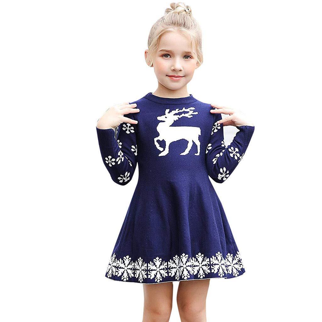 Cooljun Baby Maedchen Prinzessin Kleid Kleine Mä dchen Weihnachtskleid Rentier Schneeflocke Weihnachtsgeschenke Winter Strick Pullover Kleider (2-3 Jahre / 105-110CM, Marine A)