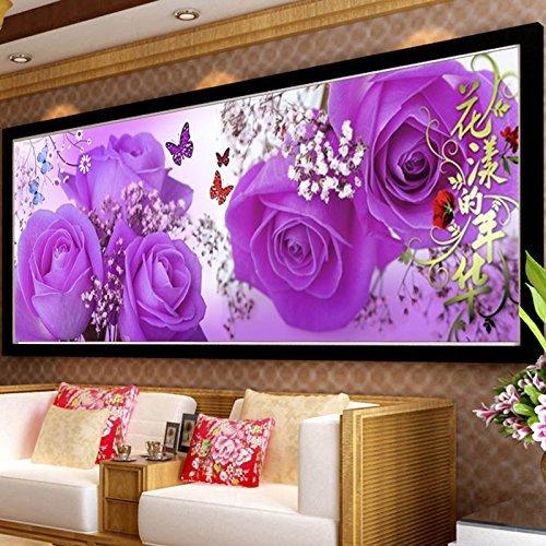 (Cross stitch, flower, purple rose, plant, luxury, wedding, C0198)