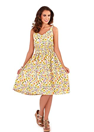 cde5956b8dcc Pistachio Women's Yellow & White Floral Print Pretty Summer Dress S: Amazon. co.uk: Clothing