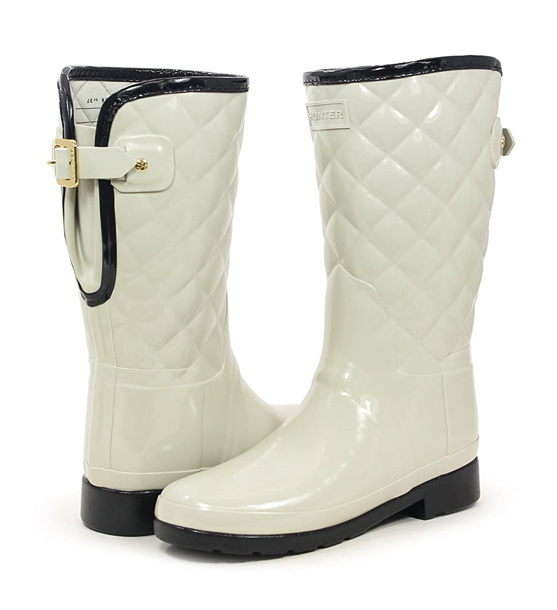 Hunter Original Refined High Gloss Quilted Parchment Short Rain Boots B07BHM72K6 10 M US