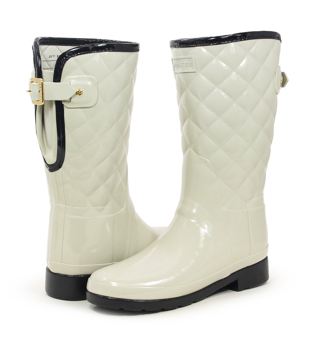 Hunter Original Refined High Gloss Quilted Parchment Short Rain Boot