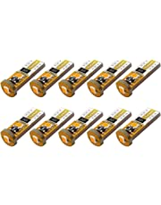 Yorkim 194 Led Bulb Amber Canbus Error Free 3-SMD 2835 Chipsets, T10 Amber Interior Led For Car Dome Map Door Courtesy License Plate Trunk lights with 194 168 W5W 2825 Sockets Pack of 10, Amber Yellow