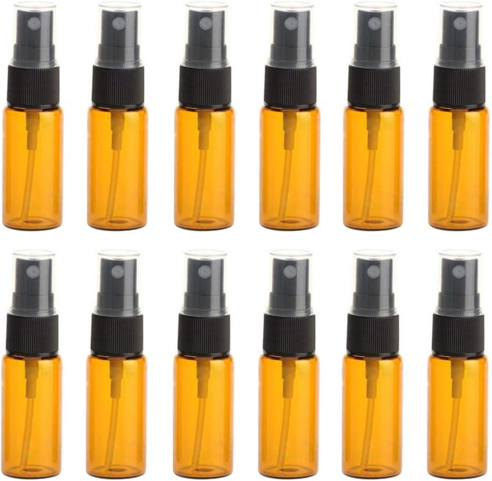 12 botellas de cristal ámbar con boquilla negra y tapa transparente para maquillaje, perfume, cosméticos, paquete de muestras.
