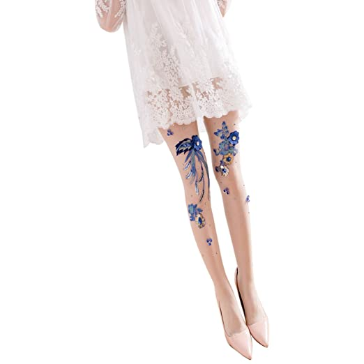 8538033cc09a2 SODIAL Fashion Women's Sexy Rhinestone sequins Blue Floral Embroidery  Fishnet Tights Stockings Chic Pattern Long Pantyhose