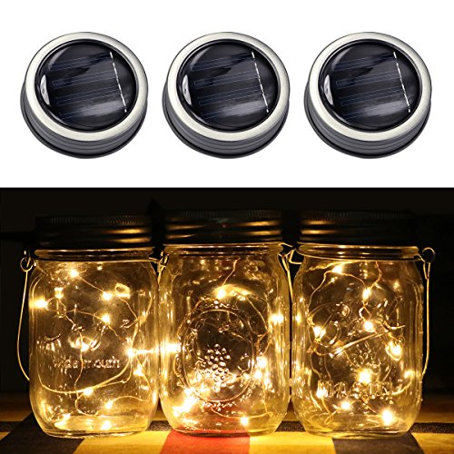 3 Pack Solar Mason Jar Lid Insert- YTE Warm White LED Fairy Mason Jar Solar Light for Glass Mason Jars and Garden Decor Solar String Lights (Outdoor Mason Jar Lights compare prices)