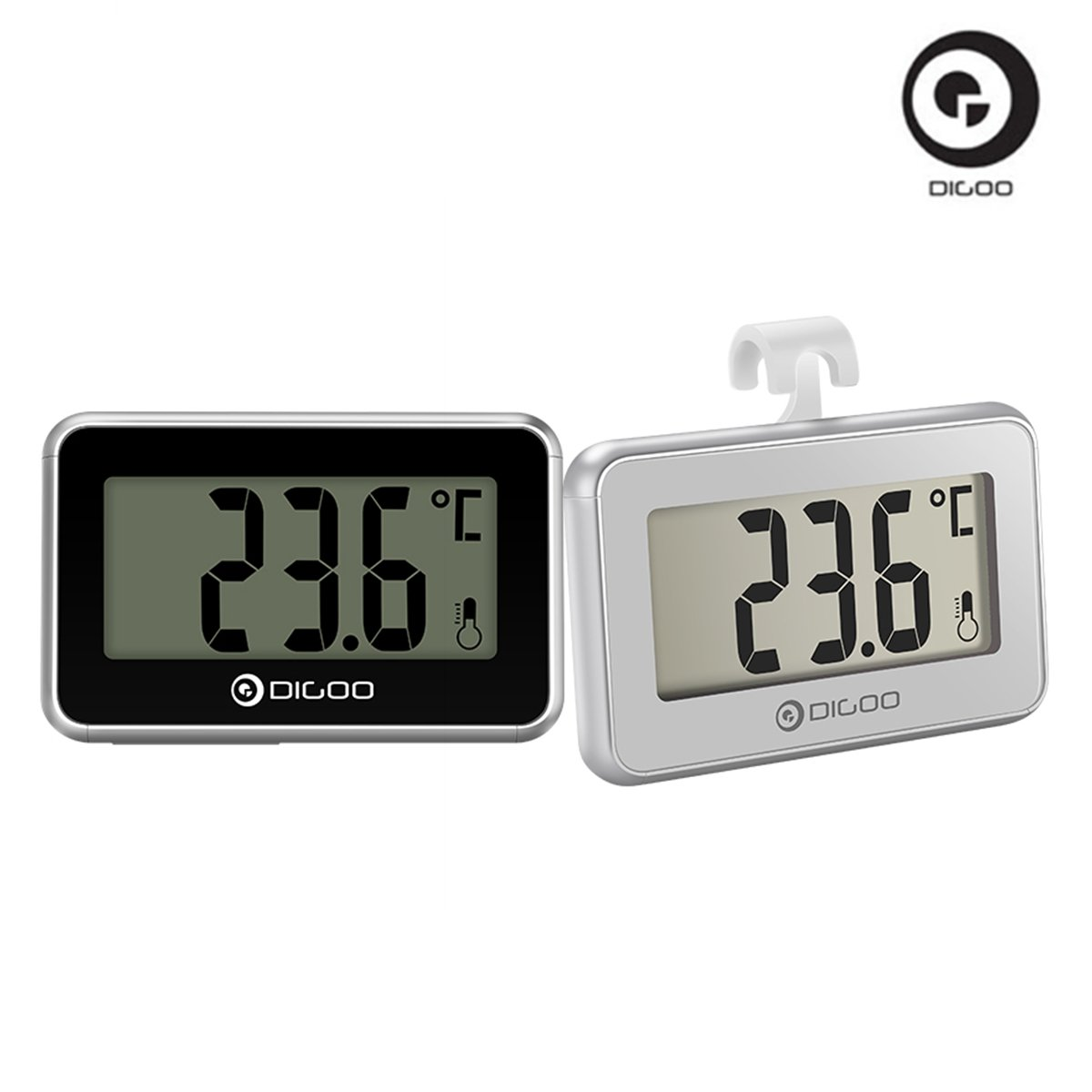 DIGOO 2PCS Mini Fridge Thermometer, Digital Waterproof Freezer Thermometer, with Multi-function Hook, LCD Display, for Home Restaurant Bar Cafe Indoor and Outdoor, Black and Silver Viceirye DIGOOviceiryefr166