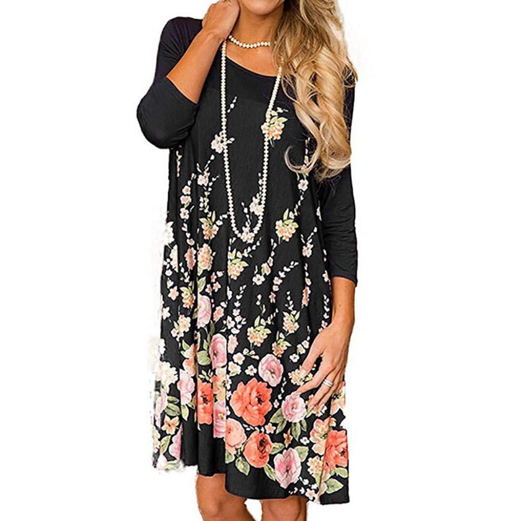 O-Neck Pocket Dress Womens Fashion Long Sleeve Casual Floral Print Dress