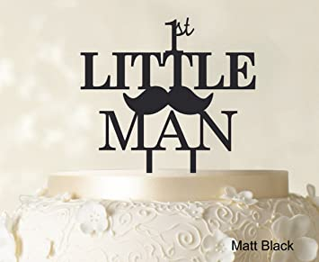 Quot1st Little ManquotBirthday Cake Topper Elegant Moustache Decorationquot