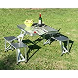 Chonlakrit New Outdoor Portable Folding Aluminum Picnic Table 4 Seats Chairs Camping w/Case
