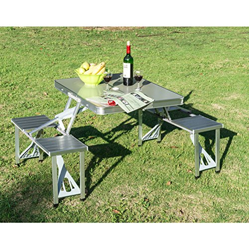 Chonlakrit New Outdoor Portable Folding Aluminum Picnic Table 4 Seats Chairs Camping w/Case by Chonlakrit