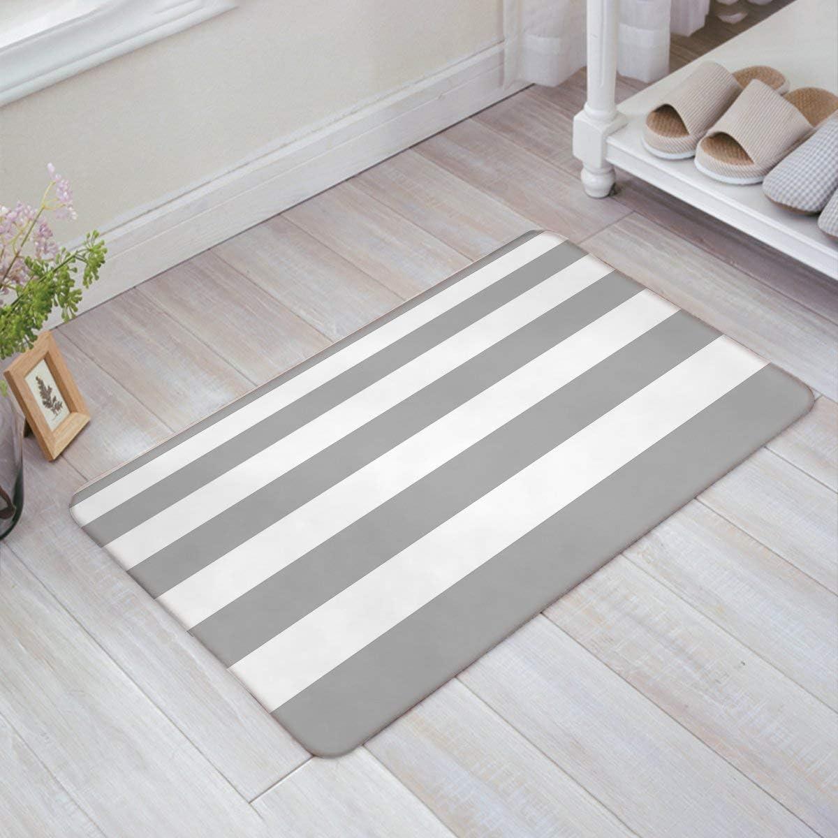 MHKG Morden Grey and White Blod Stripe Door Mats Kitchen Floor Bath Entrance Rug Mat Absorbent Indoor Bathroom Decor Doormats Rubber Non Slip 32 x 20