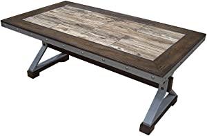 Best Master Furniture Industrial Country Coffee Table, Brown