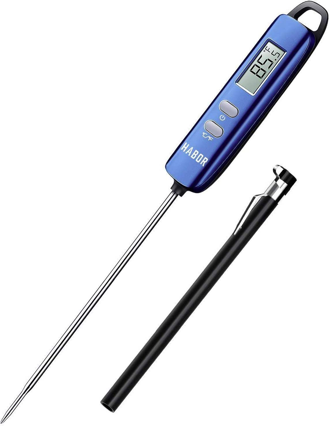 Habor 022 Meat, Instant Read Digital Cooking, Candy Thermometer with Super Long Probe for Kitchen BBQ Grill Smoker, Standard, Navy Blue