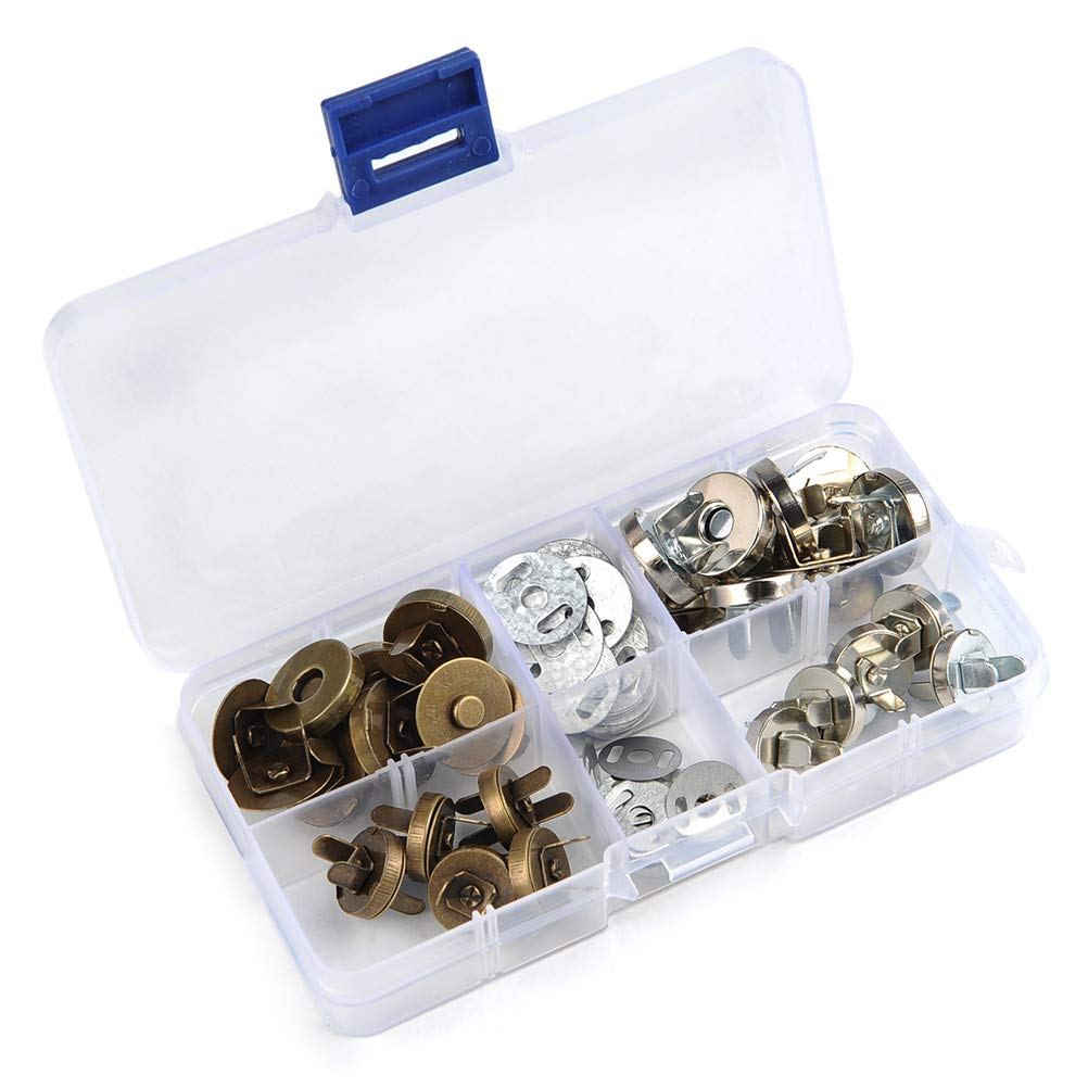 TIMESETL 20Set 14/18mm Magnetic Snap for Purse Magnetic Bag Fastener Clasp Button with Storage Box - Silver/Antique Brass TXJ-059-US-1