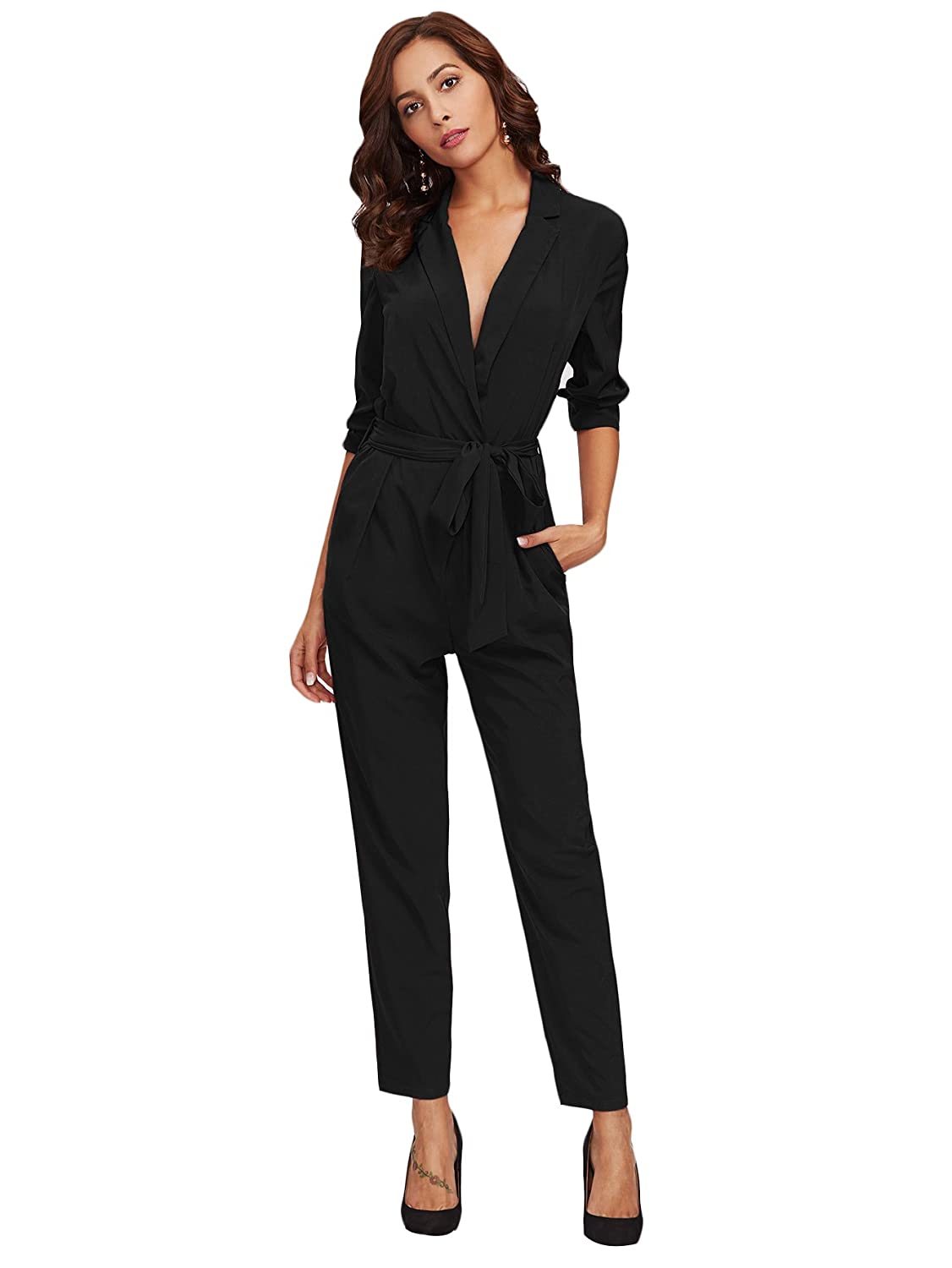 Black DIDK Women's Wrap and Tie Detail Tailored Jumpsuit