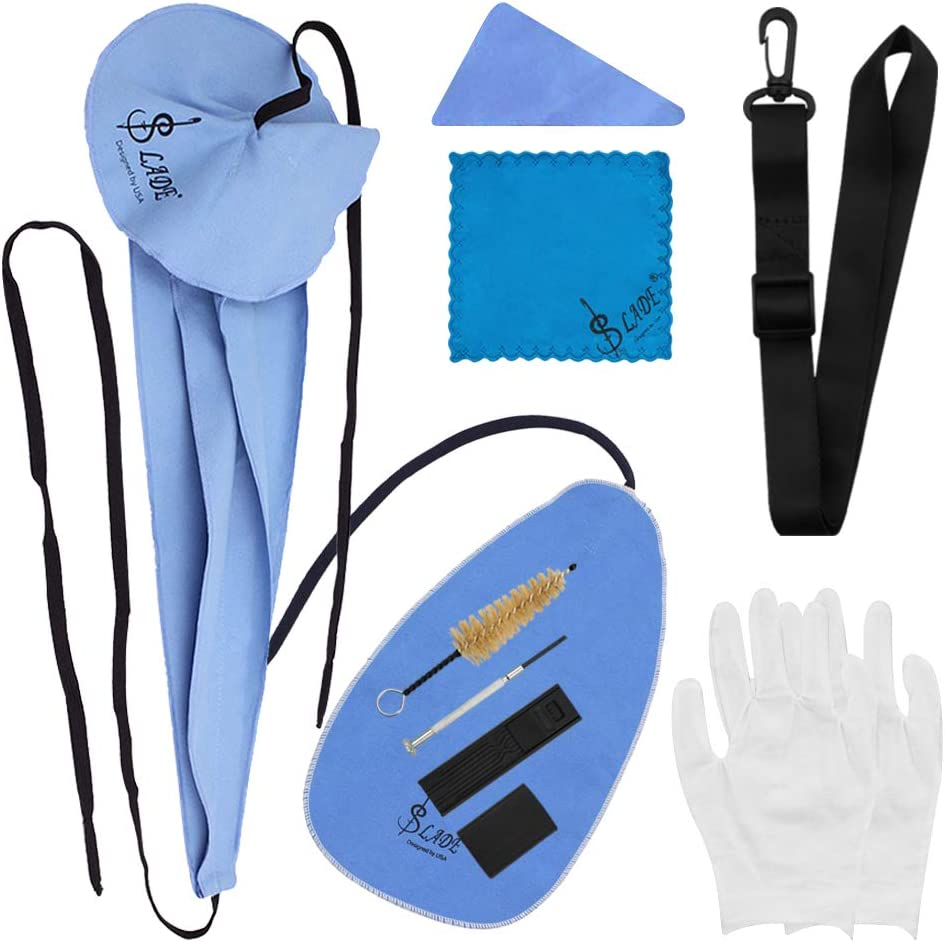 Thumb Rest Cushion Gloves Cleaning Cloth Mouthpiece Brush Strap and Reed Cas Mini Screwdriver COCODE Saxophone Cleaning Care Kit 10-in-1 Sax Cleaning Kit for Wind Instruments Includes Sax Swab