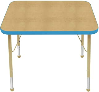 "product image for Creative Colors 24"" x 30"" Rectangular Activity Table with Maple Top, Bright Blue Edge, Ball Glide - Standard Leg Height: 21""-30"""