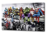 MARVEL DC COMIC SUPERHEROES GIRDER LUNCH ATOP SKYSCRAPER CANVAS ART (44'' x 26'')