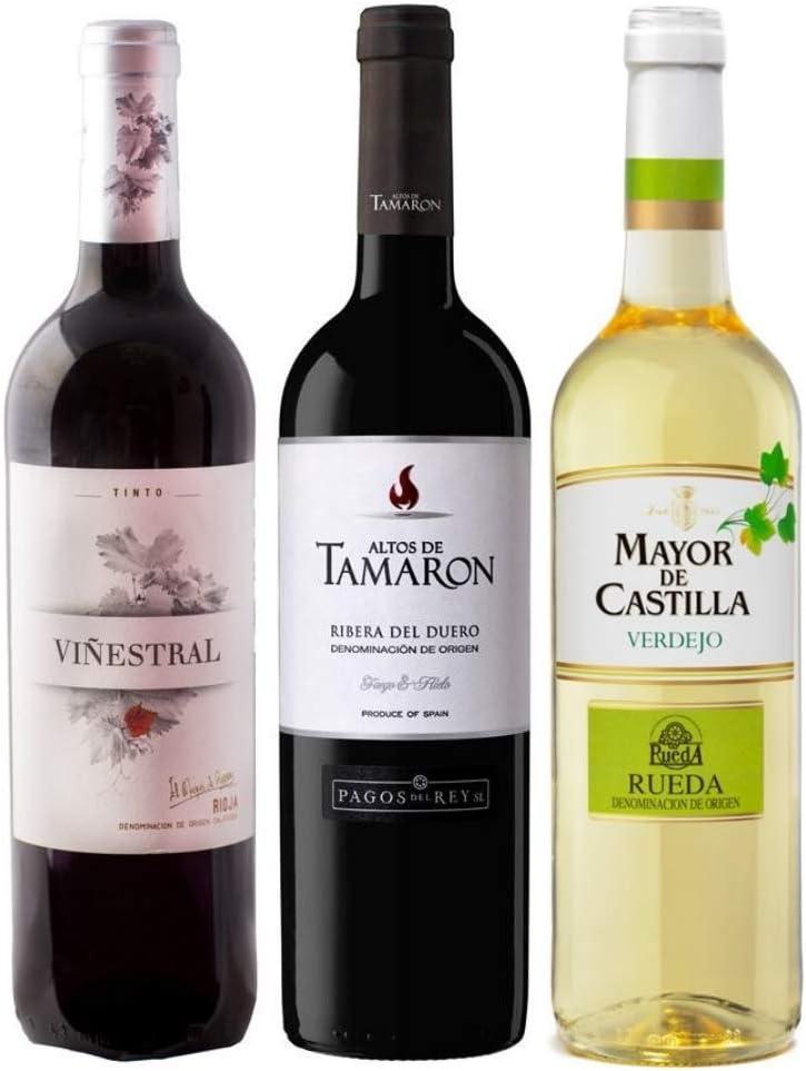 Pack de Vinos Rioja Viñestral 75cl - Ribera del Duero Altos de Tamaron 75cl - Rueda Verdejo Mayor de Castilla 75cl Especial para regalo y ocasiones especiales - Envío 24/48h asegurado