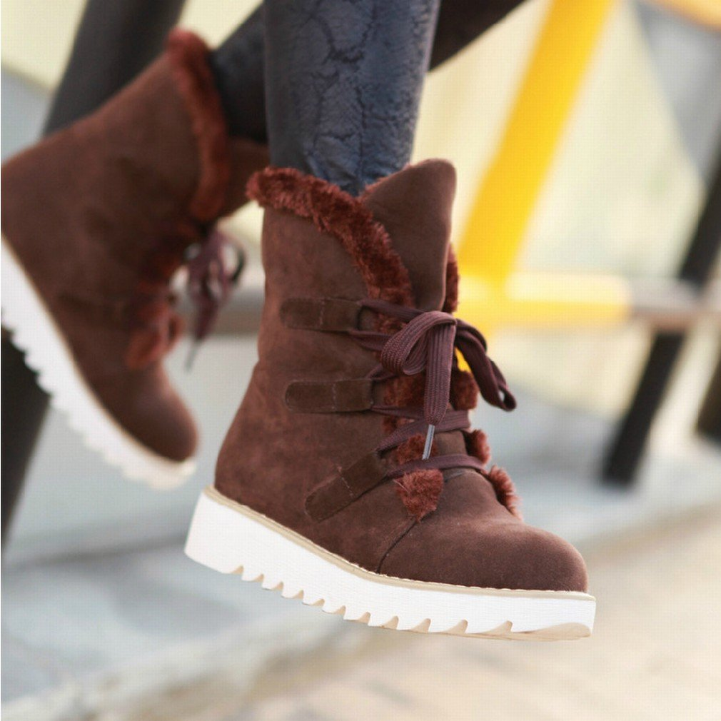 ANI Zapatos de Otoño E Invierno Occidentales Botas de Pastel Sueltos con Botas Martin Botas de Gran Tamaño,Re,35 35