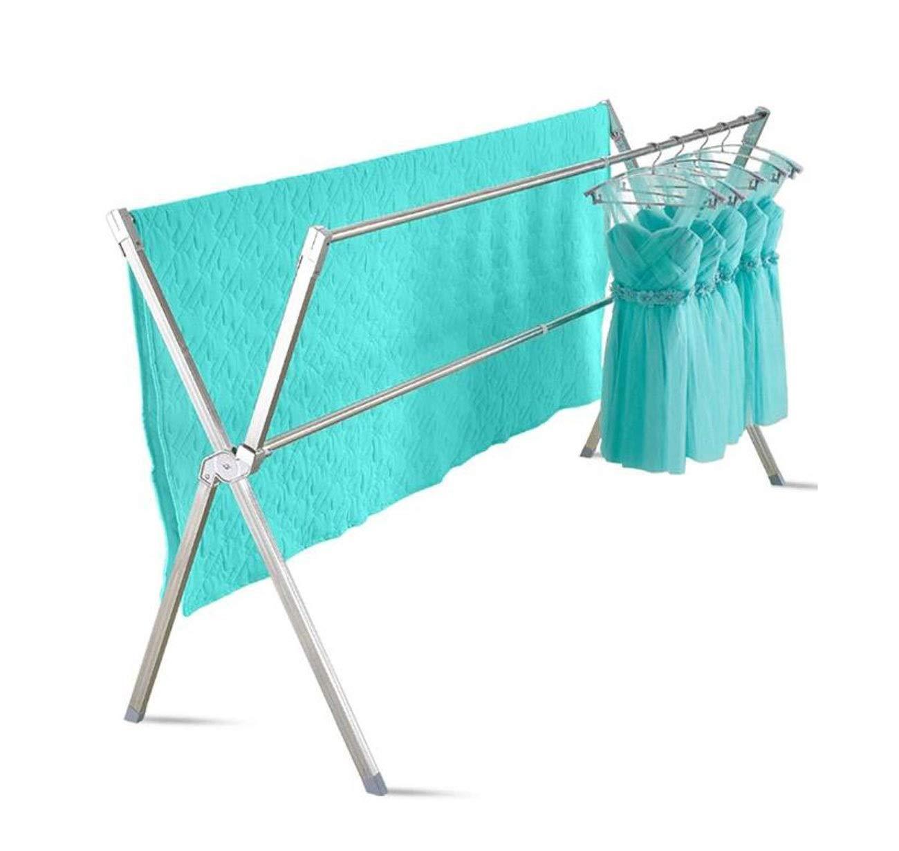 衣類乾燥ラック、床折りたたみ室内X型ステンレス鋼冷たい掛け布団格納式ハンガー/二重極バルコニー乾燥ラック乾燥ラック B07RR2FYD3