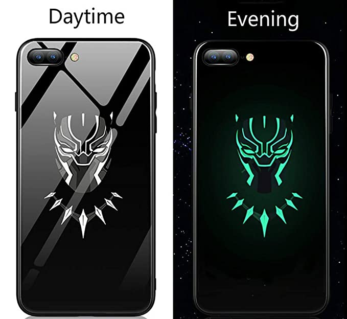 new arrivals 5eaf8 b6d97 Black Super Hero Panther Luminous Fashion Luxury Tempered Glass Hybrid Case  for iPhone X 7 8 6 6s Plus (Style 5, iPhone 7 8)