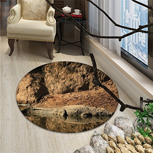 Africa Round Rugs for Bedroom Nile Crocodile Swimming in the River Rock Cliffs Tanzania Hunter Geography PrintOriental Floor and Carpets Brown Tan by smallbeefly