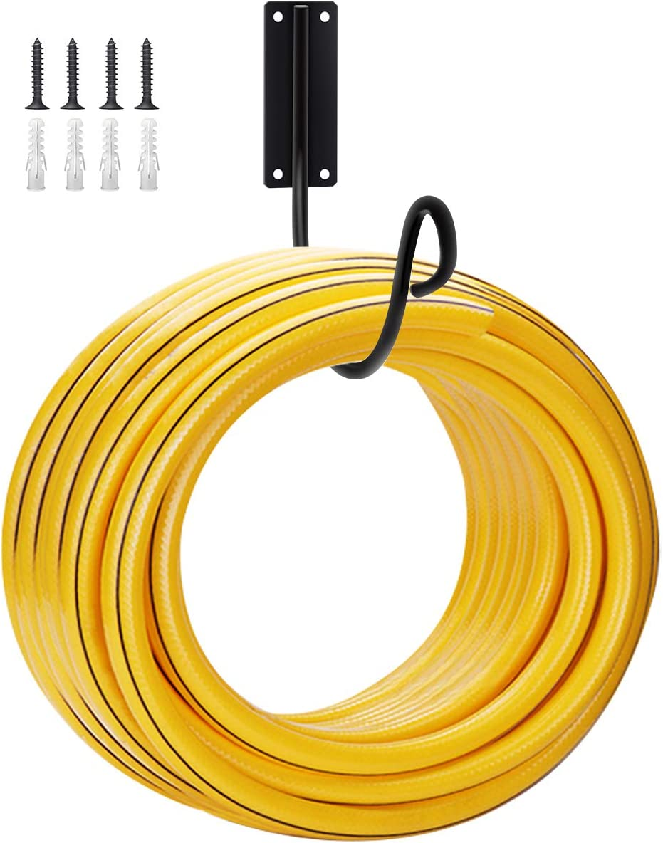 MIXXIDEA Hose Holder Hook Wall Mounted Water Hose Storage Hanger Heavy Duty Metal Hose Bracket, Holds 125-Feet of 5/8 Inches for Garden and Outside Hose Pipe Hook (Black)