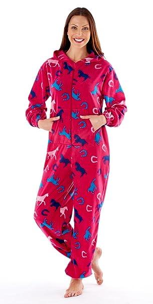 Storelines Pijama monopieza con capucha para mujer, estampado de caballos (rosa o azul)