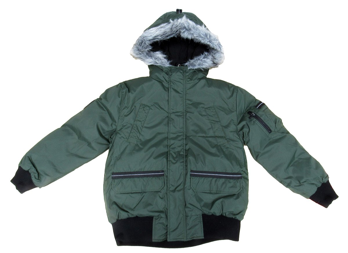 Hawke & Co Boy's Classic Bomber Jacket with Faux-Coyote trimmed hood Military Olive 8