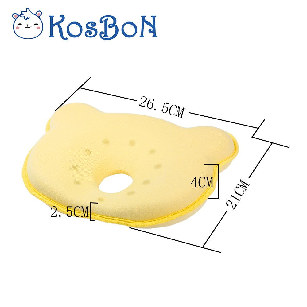 KOSBON 10 Inches Yellow Soft Memory Foam Baby Pillow Head Positioner Neck Support,Prevent Flat Head Syndrome For 3 Months To 1 Year Old Infant Bear Shape,Includes Pillow Case .