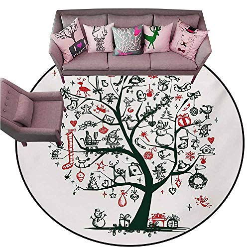 Indoor/Outdoor Rubber Mat Christmas,Large Tree with New Year Ornaments Presents and Candles Angels Holiday Theme,Green Vermilion Diameter 60