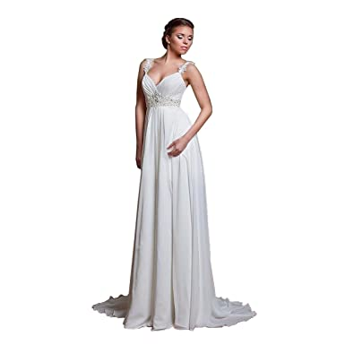 b88dac2887 DingDingMail Spaghetti Strap Sexy Beach Wedding Dress Backless Lace Up  Pregnant Women Wedding Gowns (002