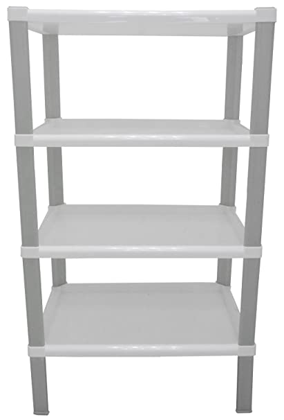 Mueble de baño cocina estantería blanco 4 niveles de dura plástico de resina Puerta Conservas vivande