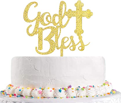 First Baby Shower Decoration Supplies Communion Party Sign INNORU Silver Glitter God Bless Cake Topper Baptisim Christening