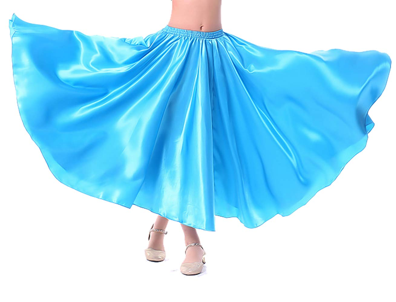 Lauthen.S Kids Gilrs Skirt for Belly Dance/Performance/Halloween Party, Satin Full Circle Tribal Skirt(Blue,M) by Lauthen.S