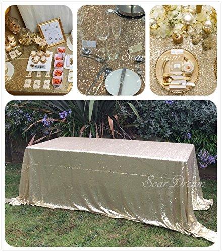 SoarDream Matte Gold sequin tablecloth 50