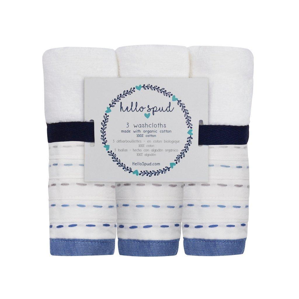 Amazon.com: Hello Spud - Diagonal Pintuck Blue-Gray Washcloth 3-Pack Organic Cotton - Super Soft Terry: Baby