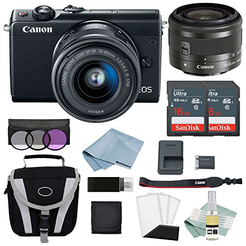 Canon EOS M100 Mirrorless Digital Camera (Black) With 15–45mm f/3.5–6.3 IS STM Lens + Advanced Accessory Bundle - Includes EVERYTHING You Need To Get Started
